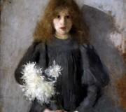O. Boznańska, Dziewczynka z chryzantemami, 1894 (public domain)